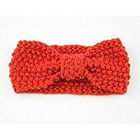HuaQingPiJu-JP 赤ちゃんの弓のネクタイの髪の装飾かわいいニットのヘアバンド(赤)