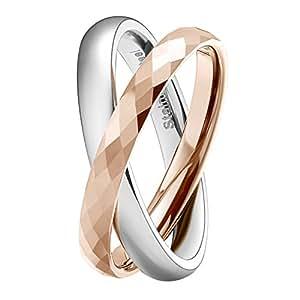 TICENTRAL タングステン&ステンレス 2連 リング 指輪 メンズ レディース 鏡面加工 ダイヤカット 幅2mm ダブルリング (ピンクゴールド, 12)