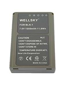 【WELLSKY】 OLYMPUS オリンパス ● BLN-1 互換バッテリー● 純正充電器で充電可能 残量表示可能 純正品と同じよう使用可能 ● OM-D E-M5 / E-P5 / OM-D E-M1 / OM-D E-M5 Mark II
