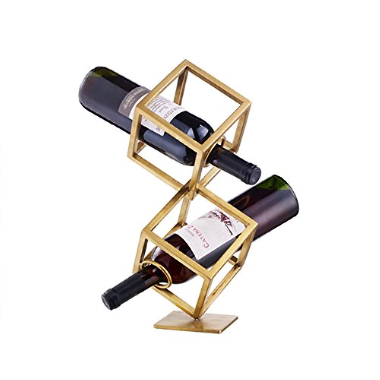 ワインラック メタルデスクトップ2/3ヨーロッパのレトロなシンプルなデザイン強力なローディング能力耐久性に優れたあらゆるシーンに適し、ワイン2?3本を入れることができます (サイズ さいず : 38.5 * 15cm)