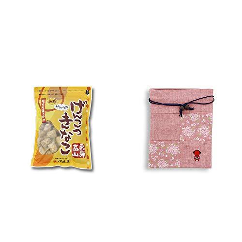 [2点セット] 飛騨 打保屋 駄菓子 黒胡麻こくせん(130g)・おねがいさるぼぼ 巾着【ピンク】