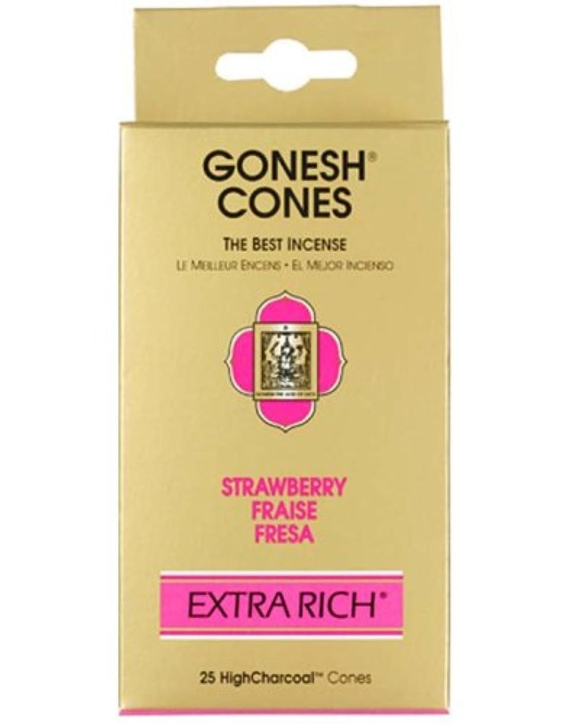 ほうきストラップ側溝ガーネッシュ(GONESH) エクストラリッチ インセンス コーン ストロベリー 25個入(お香)