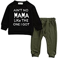 Baby Kids Toddler Boy Sayings Printed Tops Pants Leggings Outfits Clothes Set 0-3 Y