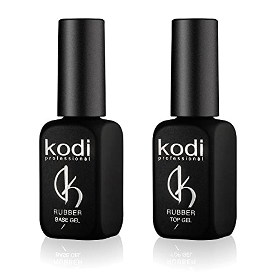 シャー退屈させるくるくるKodi プロフェッショナルラバートップ&ベースジェルセット| 12ml 0.42オンス|爪のソークオフとポリッシュ コートキット|長持ちするネイルレイヤー|使いやすい、無毒&無香料| LEDまたはUVランプの下で硬化