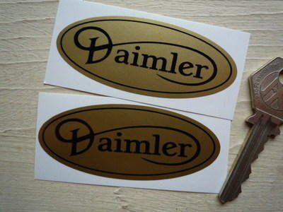 Daimler Gold & Black Sticker ダイムラー ステッカー シール デカール 海外限定 75mm x 30mm 2枚セット [並行輸入品]