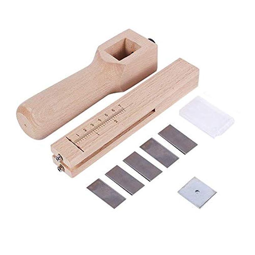 言語環境保護主義者好意的木製レザーカッター、調整可能な木製ストリップとストラップベルトカッターレザーハンドカットDIYクラフトツール、5ブレード、レザークラフトツール