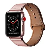 KYISGOS Compatible with iWatch Band 38mm 40mm, Genuine Leather Replacement Band Strap Compatible with Apple Watch Series 5 4 3 2 1 38mm 40mm, Pink