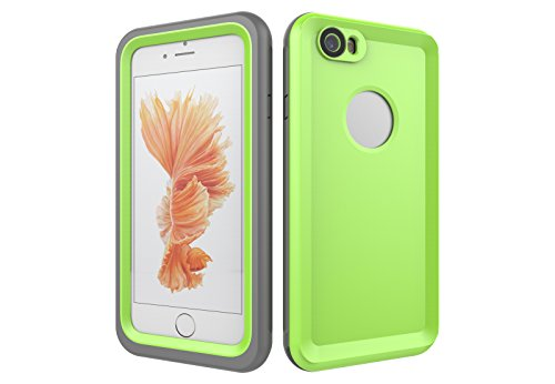 Iphone 6/6S 防水電話ケースは、HBER IP68完全密閉水泳ダイビング水中防塵耐雪性の耐震ヘビーデューティケースカバーは、iphone6/6Sのために敏感な画面タッチ指紋認証ロック解除をサポートしています (緑)