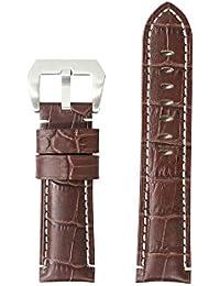 PANERAI パネライ 対応 レザー ベルト 24mm ダークブラウン 白ステッチ PRL-DBW-S バンド交換 工具付属 社外品