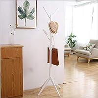 木製のコートスタンドツリー小枝帽子とコートラック通路廊下寝室クローゼットワードローブ8フック175cm 無垢材,White