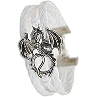ACUNION™Handmade Dragon Daenerys Targaryen - Game of Thrones Charm for Friendship Gift - Fashion Personalized Leather Bracelet - White