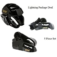 Lightning Black Karate Sparring Gear Package Deal - Adult X Large
