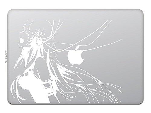 MacBook Air / Pro マックブック ステッカー シール アニメ ミュージック ガール Music Girl ホワイト M741