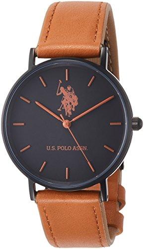[ユーエスポロアッスン]U.S.POLO ASSN 腕時計 ブラック文字盤 キャメルレザー クォーツ ユニセックス US-1B-CA 【正規輸入品】