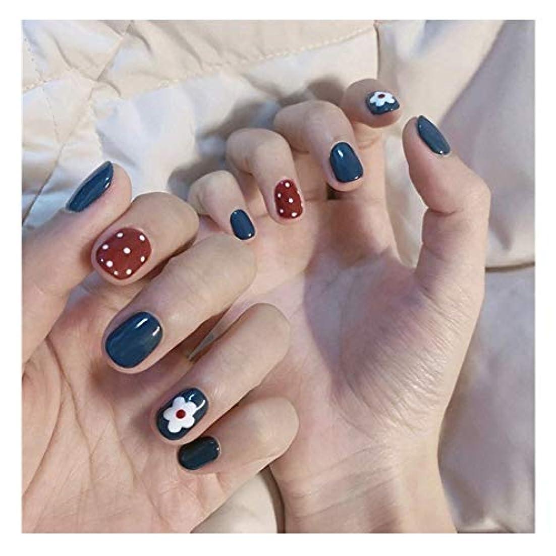幸福呼ぶ電気的BOBIDYEE 明るい顔青+赤小の花偽の釘ショートネイルズのり完成ネイル偽の釘 (色 : 24 pieces)