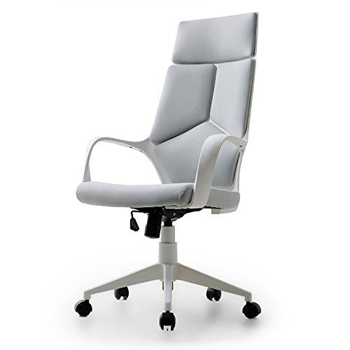 LOWYA (ロウヤ) オフィスチェア パソコンチェア 立体構造 4分割クッション ハイバック ロー座面 アームレスト ロッキング 360度回転 キャスター付き ファブリック グレー/ホワイト