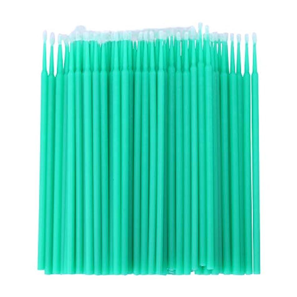 リブ読み書きのできないアラブサラボWOVELOT 100個 歯科用マイクロブラシ 使い捨て材料 歯用アプリケーター ミディアムファイン(ライトグリーン)