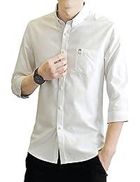 Jizi シャツ メンズ オックスフォード シャツ メンズ 七分袖 無地 春 夏 秋 シャツ カジュアルシャ