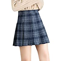 omniscient Women's School Pleated Swing High Waist Woolen A Line Mini Skirt