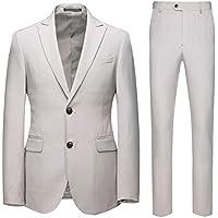 Howely Men's Wedding Two-Button Business Suit Blazer Jacket & Flat Pants Set