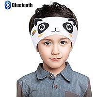 Bluetooth ヘッドフォン 子ども ヘッドフォン ワイヤレス, Homelove 子供用 ヘッドバンド 音楽アイマスク 柔らかい 無線 ヘッドセット 取り外し可能 洗濯可能 調整しやすい 軽量 家 学校 昼休み 安眠 パンダ ホワイト&ブラッ