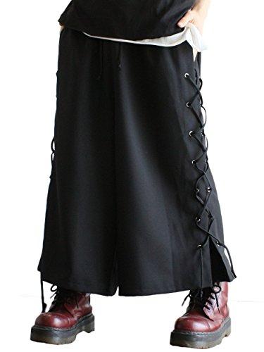 (アルビノ) albino レースアップ 袴 パンツ FREE ブラック