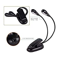 "Hzjundasi ブックライト Black Clip-On Mini Book Double 光 LED Travel Reading Lamp for 6"" All-New Kindle E-reader 2016 8th"