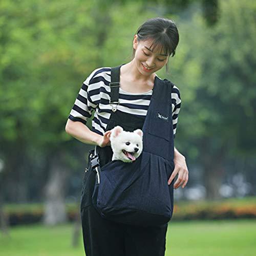 ペット用 キャリーバッグ ペットバッグ抱っこ紐 スリングバッグ 斜め掛け 斜めがけバッグペットスリング 犬猫用 小型犬用 肩掛け アウトドア 旅行 お出かけ便利 調整可能 (L, ブラック)