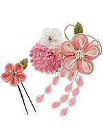 [ 京都きもの町 ] 振袖 髪飾り2点セット ピンク色系のつまみのお花 下がり飾り つまみ細工髪飾り