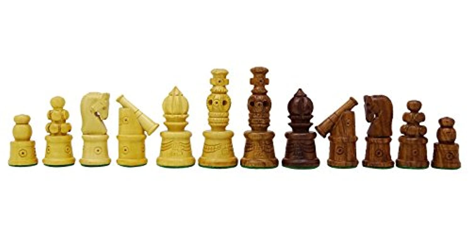 Chessmate Hand Crafted Staunton Heavy Golden Rose Wood 32 Chessmen Pieces Chess Game King's Height 78 mm Gift For Men