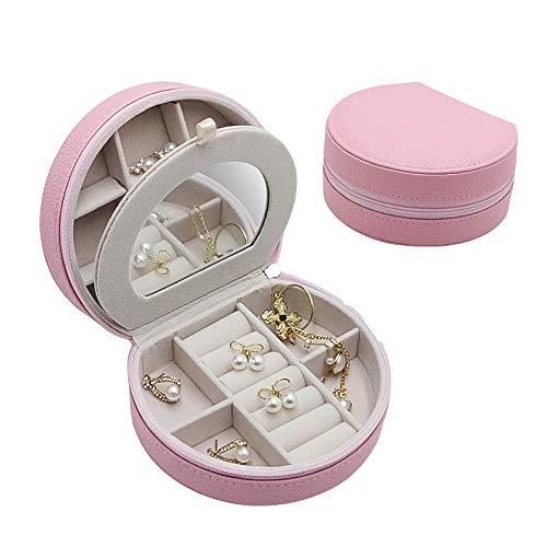 ジュエリーボックス ミニ宝石箱 ミラー 鏡付き 引き出し 携帯用 持ち運び トラベル ピアス ネックレス 指輪 リング アクセサリー 指輪置き ジュエリーバッグ(ピンク)