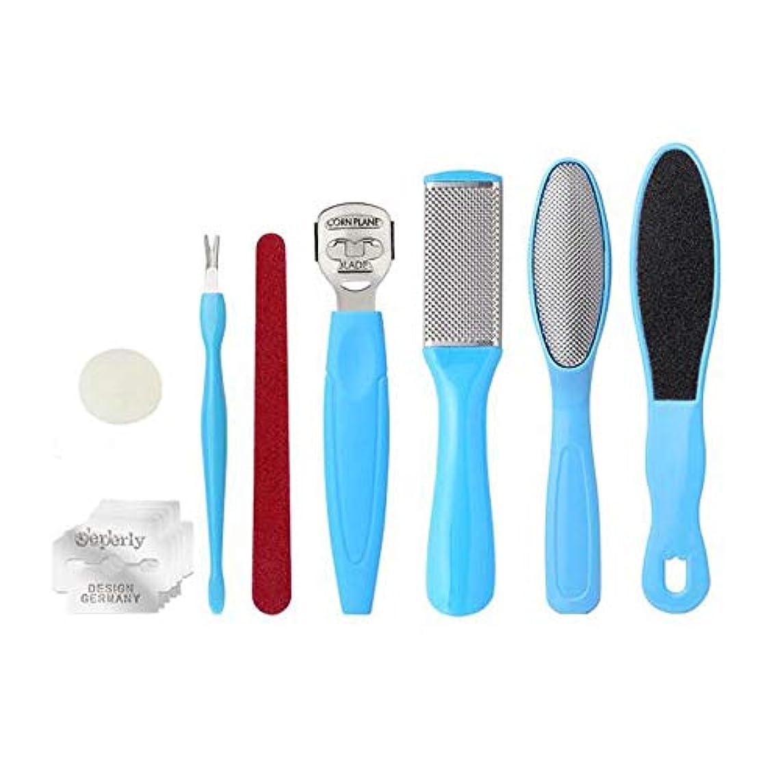 商業の沿ってレギュラーJielongtongxun スクラッチフットペディキュア、足の皮膚剥離プロフェッショナルステンレススチールエクスフォリエイティング皮膚剥離、ウェットとドライ世帯エイトインワンスーツに適し ,足の皮膚の負担を軽減 (Color : Blue, Size : 17.6CM)
