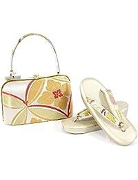 紗織謹製 草履バッグセット レディース金×白×紫 金×白×オレンジ 草履23.0cm 着物 ゴールド シルバー おしゃれ