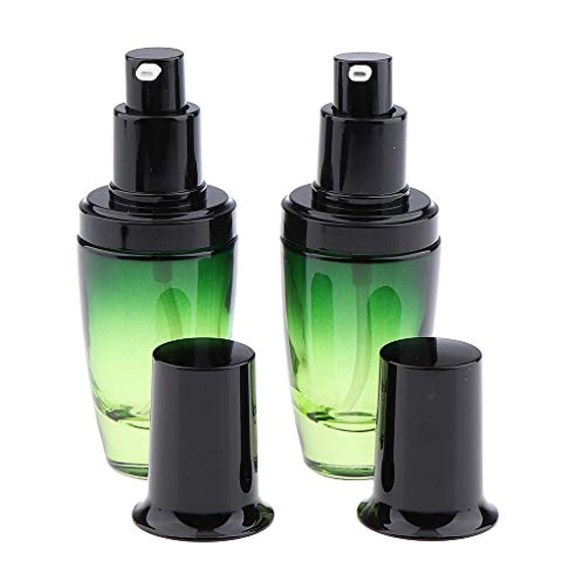 震えるコントロール破滅的な2個 ポンプボトル ガラスボトル メイクコンテナ クリームジャー 旅行小物 3サイズ選べ - 30ミリリットル