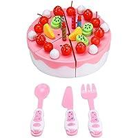 教育おもちゃ、baomabao 63pc Cutting Fruit Cakeごっこ遊び子供キッド教育クリスマスギフトピンク