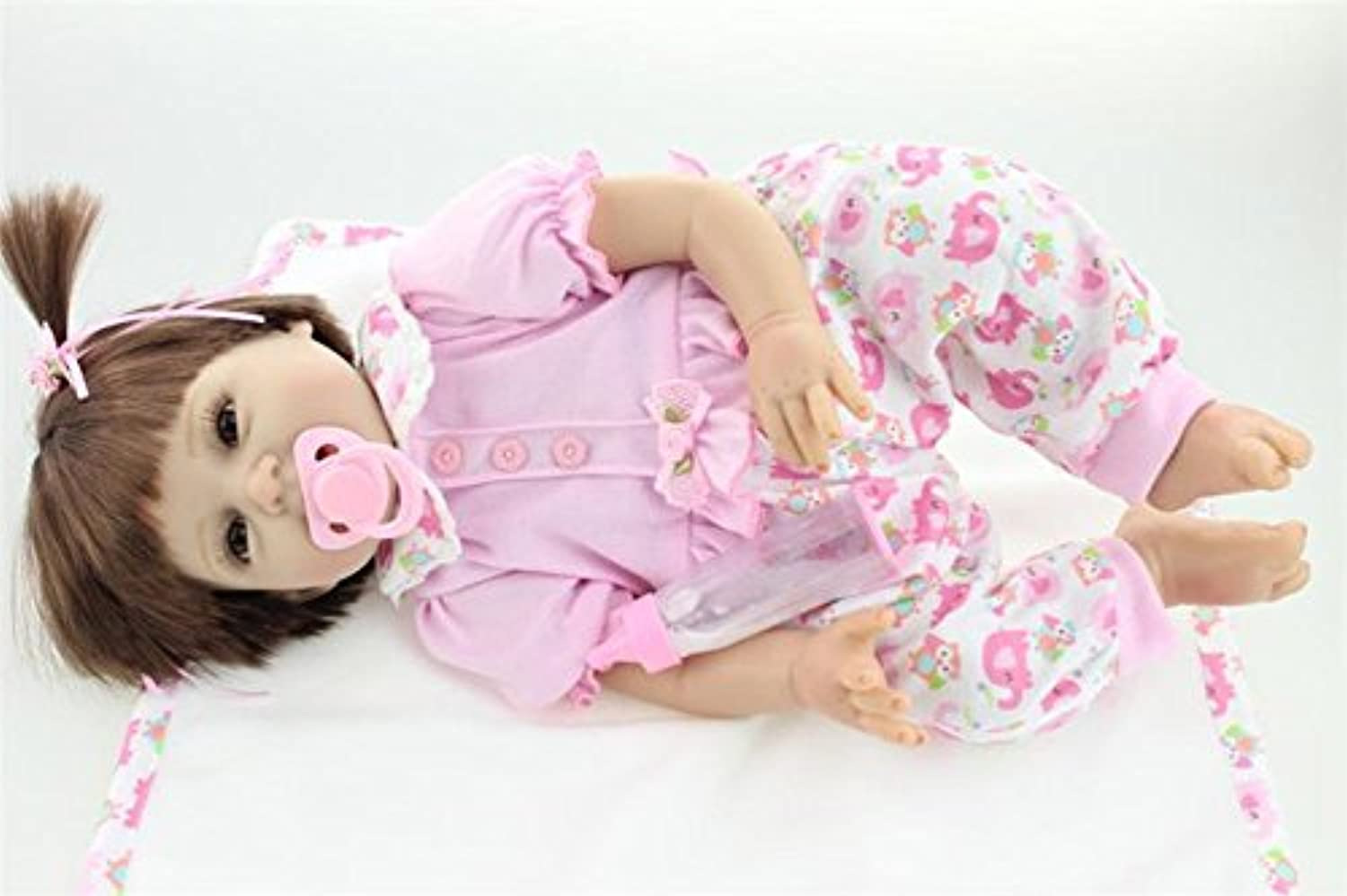 60cm Silicone Realistic Reborn Baby Pink Pigtails Girl Alive Doll Look Real Gifts for Kids Playhouse Toys Collects