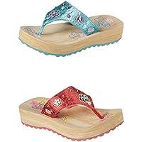 Official Brand Skechers Sparks Flip Flops Childs Girls Thongs Sandals Beach Shoes