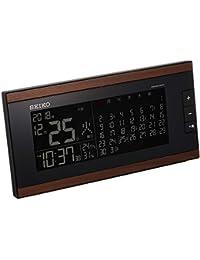セイコー クロック 目覚まし時計 電波 交流式 デジタル マンスリーカレンダー機能 六曜表示 茶 木目 模様 DL212B SEIKO