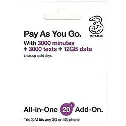 イギリスSIM Three 30日/データ12GB/通話3000分・他約60地域 データ12GB コミコミパック(日本語マニュアル付)