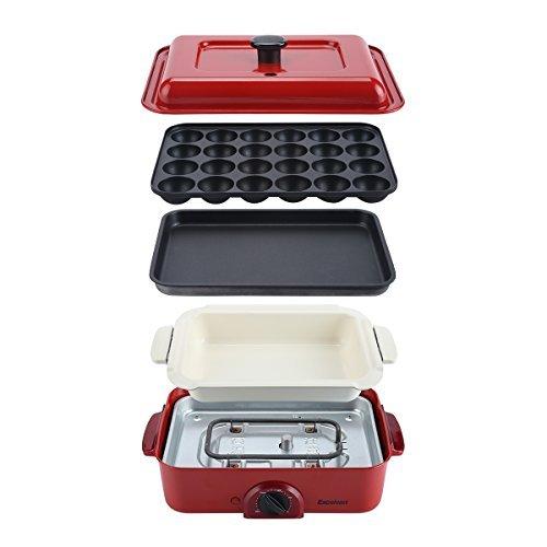 Excelvan コンパクトホットプレート 平面プレート たこ焼きプレート セラミック深鍋 3点セット 蓋と木べら付き