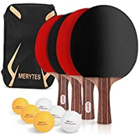 Merytes 卓球 ラケット ピンポンラケット パドル 4本セット 卓球ボール6個付き
