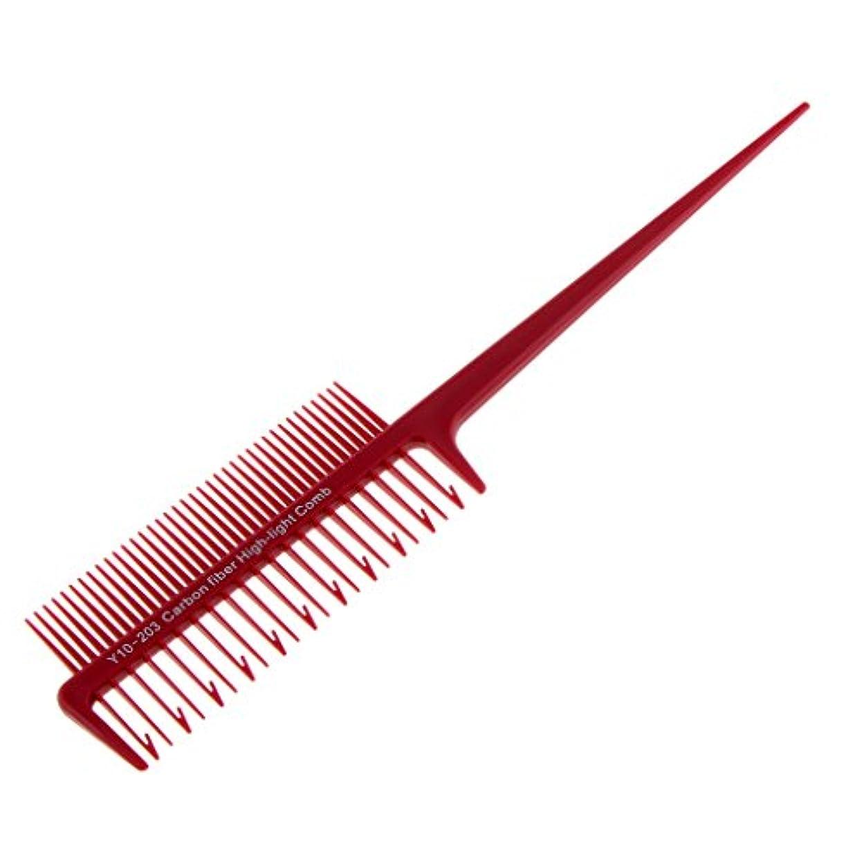 アンプ美容師アクセスできない2ウェイサロンスタイリングマイクロブライディングセクショニング織りハイライトハイライトくし4色プラスチックを選択する - 赤