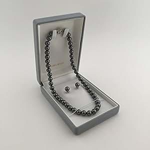 【ジュエリーケース付】花珠級 天然貝核 貝パール定番ネックレスセット 8mm真珠42cm シルバーブラック イヤリング