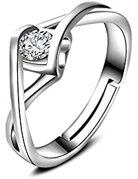 GODTOON新品 ペアリング レディース アクセサリー ジルコニア ジュエリー 心 ハートリング クロス 指輪 結婚 誕生日 クリスマス バレンタインデー プレゼント サプライズ 調整可