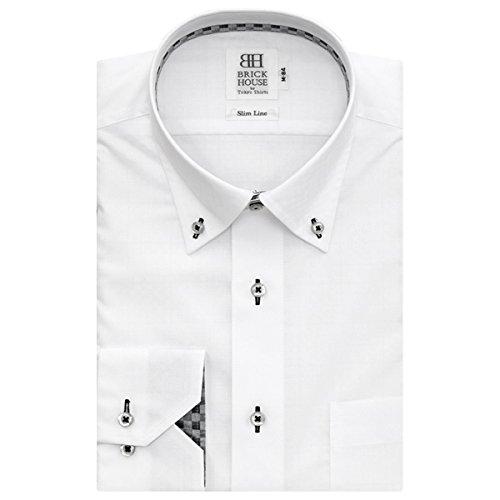 BRICK HOUSE 長袖 スリム ワイシャツ 形態安定 ショート ドゥエボットーニ ボタンダウン 白×チェック織柄 BYLV24618F-90 シロ M-84