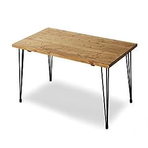 LOWYA (ロウヤ) テーブル パイン無垢材 天然木 スチール脚 デスク ダイニングテーブル 幅120cm ライトブラウン おしゃれ 新生活