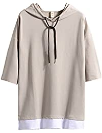 Hisitosa Tシャツ メンズ 半袖 無地 七分袖 パーカー おしゃれ 大きいサイズ カットソートップス フード付き インナー 春 夏 ゆったり カジュアル プルオーバー