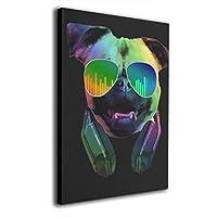 Pug Dog DJ Music 絵画 フレーム装飾画 フレームの絵 アートパネル インテリア 新築飾り 贈り物 寝室 アートフレーム 家の壁の装飾画