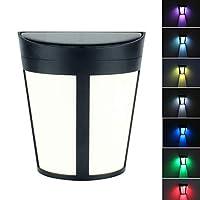 2ピースソーラーウォールライト6 ledダブルライトモード屋外防水フェンスライト手すりライトガーデン(暖かいと色)
