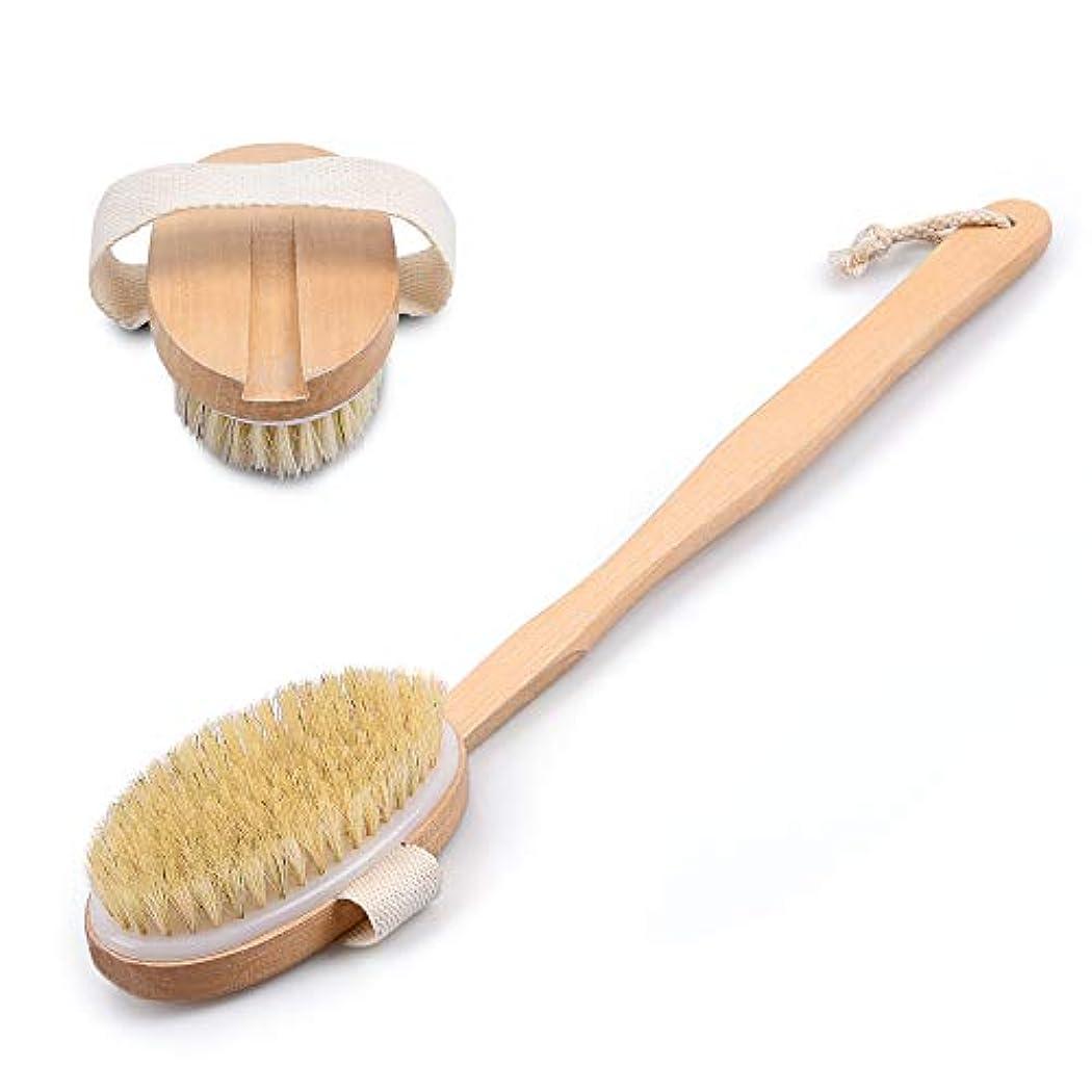 クラシック有毒な先にボディブラシ 背中ブラシ お風呂用 木製 長柄 ハンドル取り外し可能 背中を洗う 硬さソフト 角質除去 血行促進 両用可能